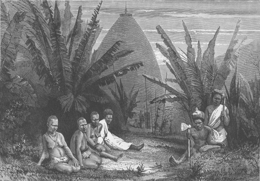 Associate Product PACIFIC ISLANDS. House of a Chief, New Caledonia & group Papuans 1890 print