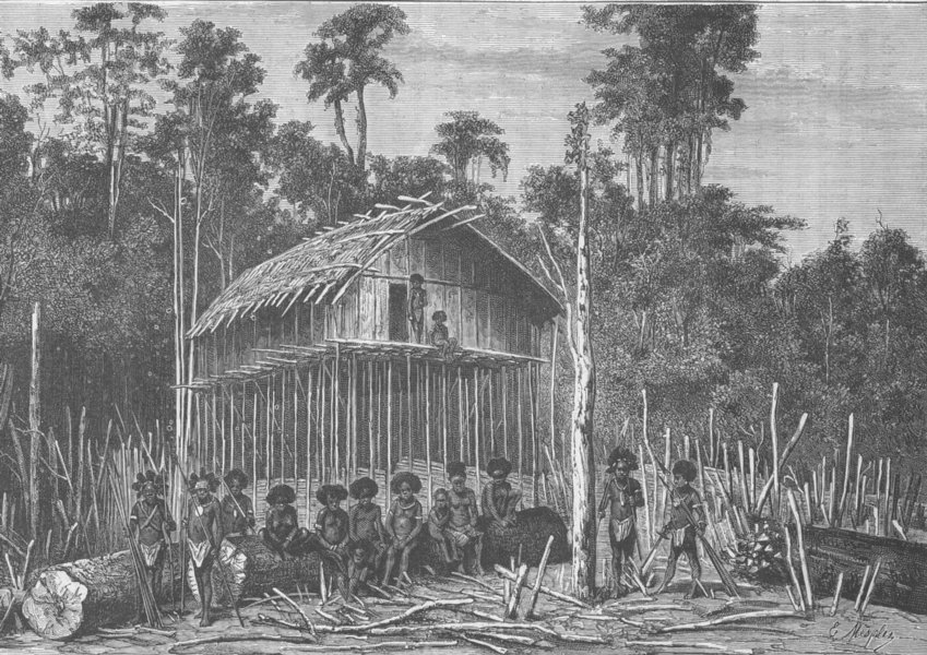 Associate Product PAPAU NEW GUINEA. The village of Alambori, New Guinea 1890 old antique print