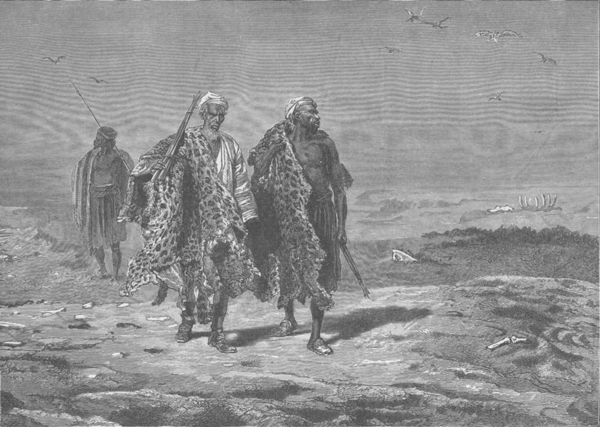 Associate Product ETHIOPIA. Arabs bringing skins to market 1890 old antique print picture