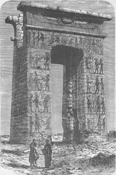 Associate Product EGYPT. Egyptian Archway with Hieroglyphics (Temple of Karnak)  1890 old print