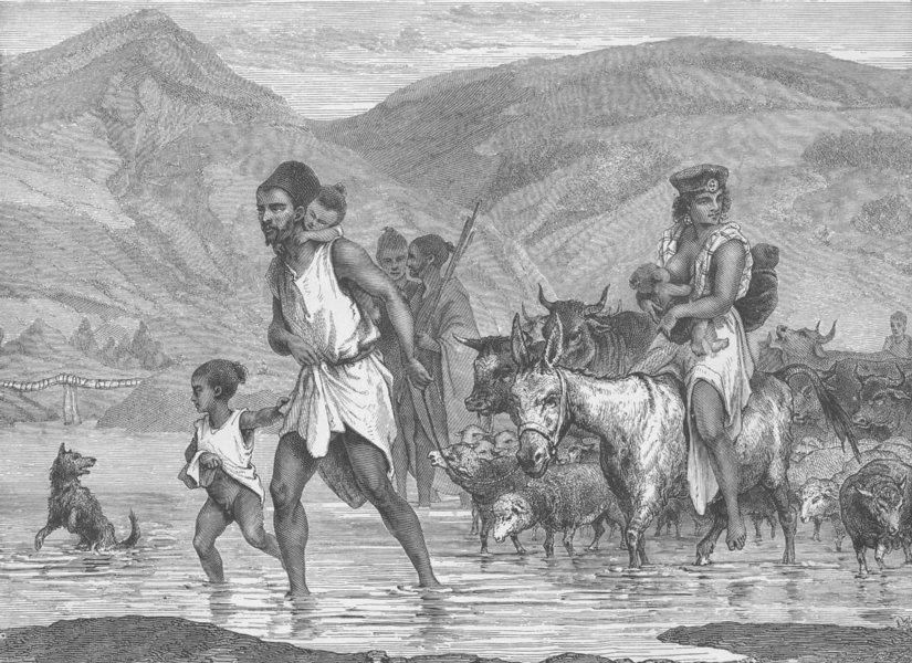 Associate Product ALGERIA. A Berber family crossing a Ford. A scene in Algeria 1890 old print