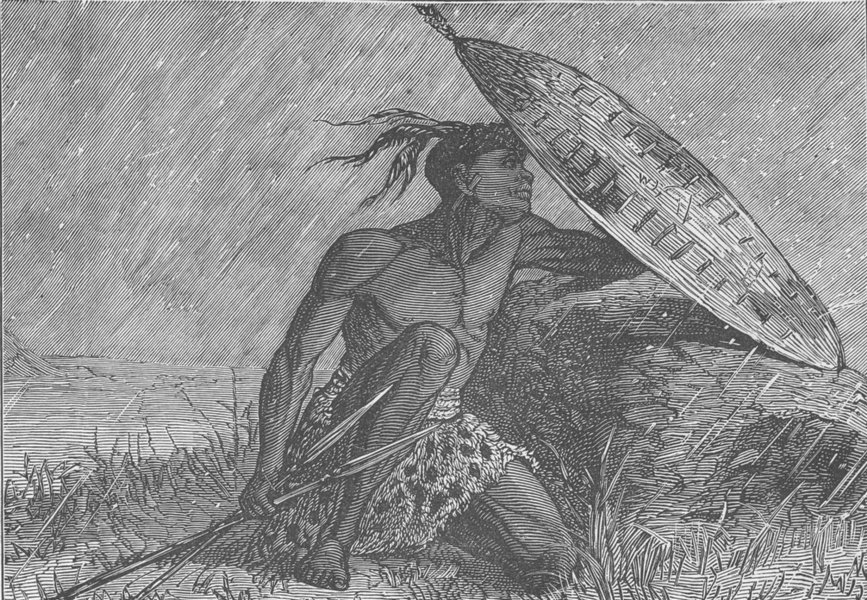 Associate Product SOUTH AFRICA. Zulu taking shelter from a hailstorm 1890 old antique print