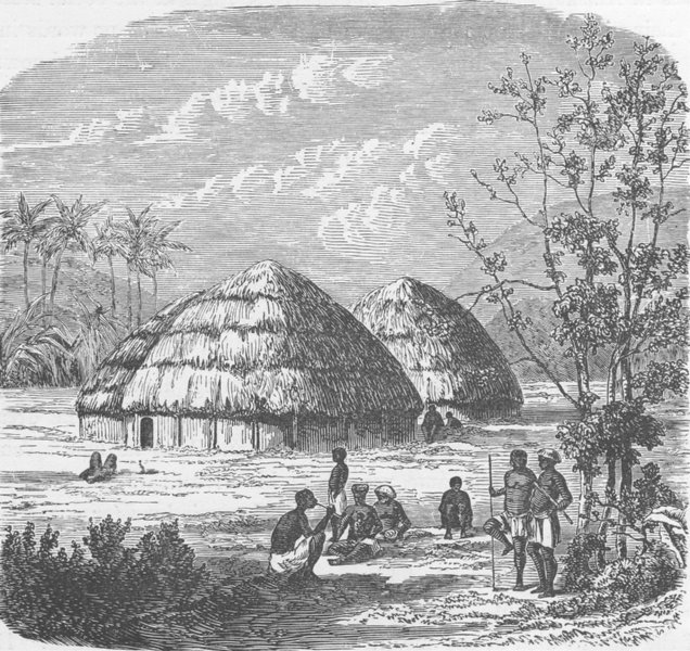 Associate Product SOUTH AFRICA. Kaffir huts 1890 old antique vintage print picture