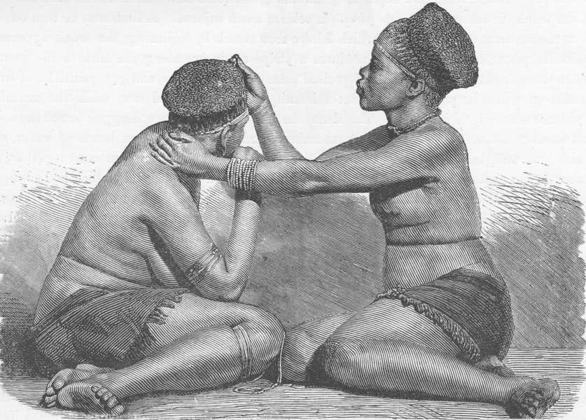 Associate Product SOUTH AFRICA. Zulu women at their Toilette 1890 old antique print picture