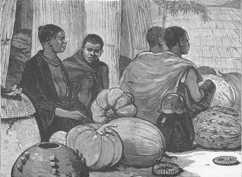 Associate Product SOUTH AFRICA. Zulu women selling pumpkins 1890 old antique print picture