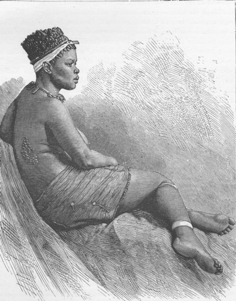 Associate Product SOUTH AFRICA. Zulu belle 1890 old antique vintage print picture