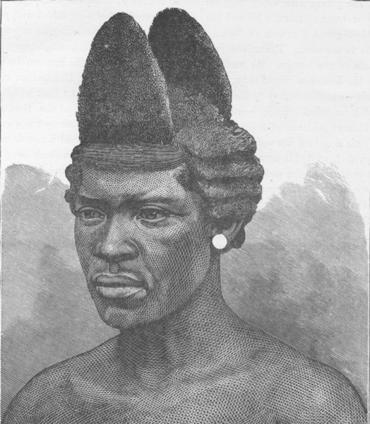 Associate Product SOUTH AFRICA. Zulu dandy, showing a mode of dressing the hair 1890 old print