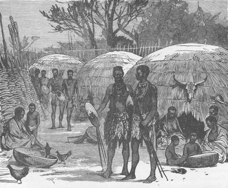 Associate Product SOUTH AFRICA. Interior of a Zulu Kraal on the Tugela River 1890 old print