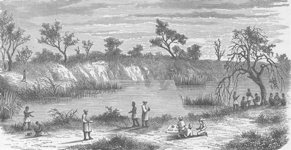 Associate Product TANZANIA. Cameron's party halting near a pond in the Gogo Country 1891 print