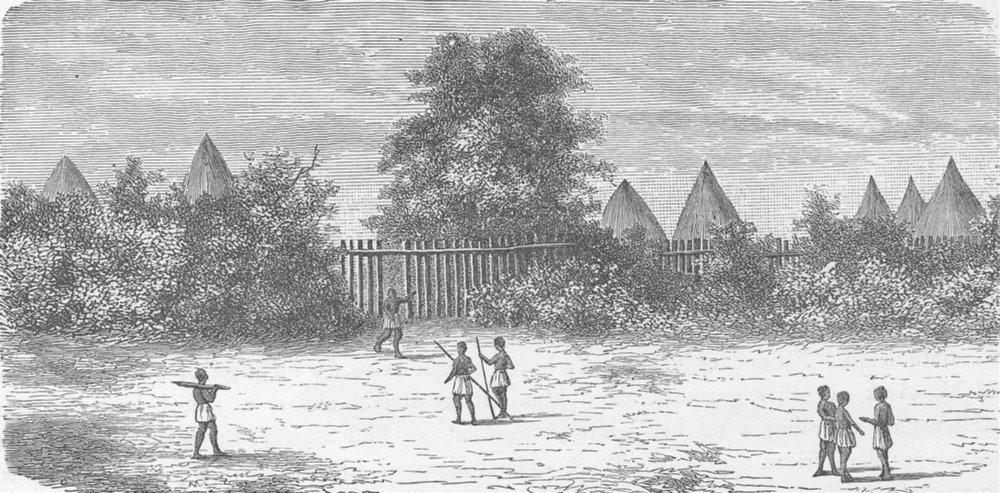 TANZANIA. Village of Nyamwezi 1891 old antique vintage print picture