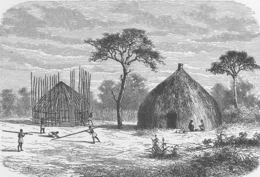 Associate Product CENTRAL AFRICA. Hut-building in a village of Uhiya, Central Africa 1891 print