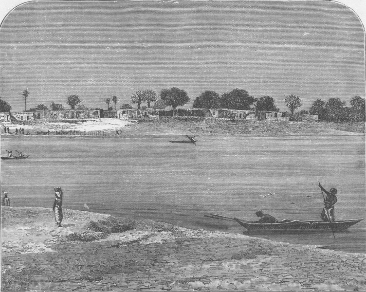 Associate Product NIGER. View of Yamina on the Niger 1891 old antique vintage print picture