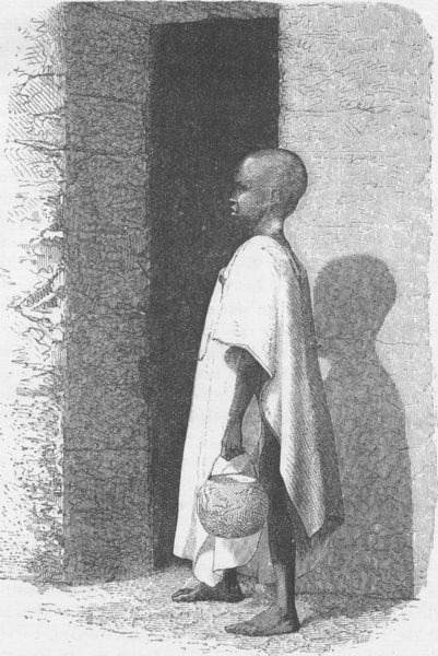 GHANA. Talibe child going to the Marabouts School 1891 old antique print