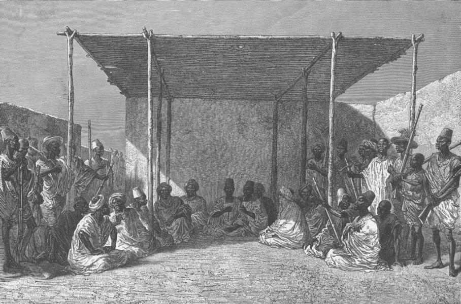 Associate Product MALI. Ahmadou, King of Bambara, presiding at a palaver, Sego 1891 old print