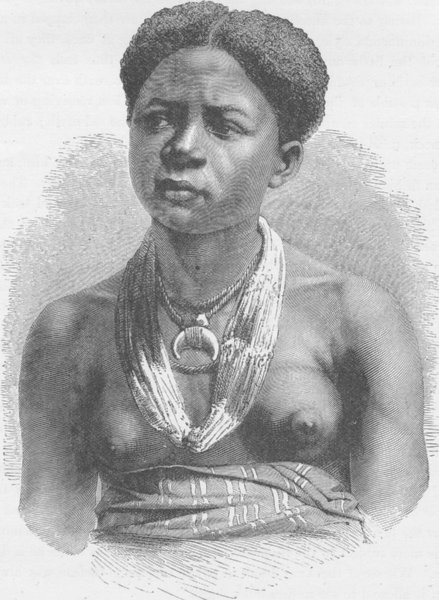 Associate Product GABON. Akera, a young girl of the Gabon 1891 old antique vintage print picture