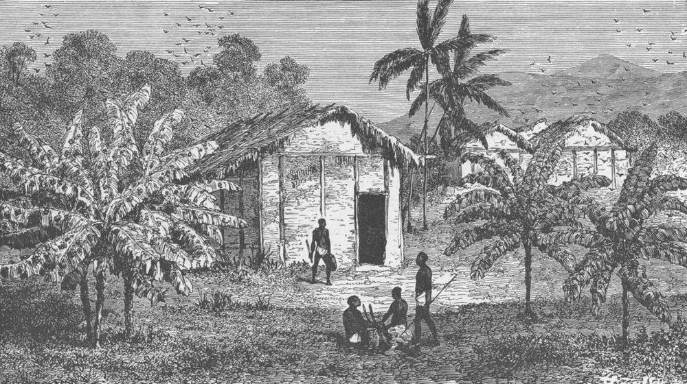 Associate Product GABON. Fetish banana trees near the River Ogooue/Ogooue, Gabon 1891 old print