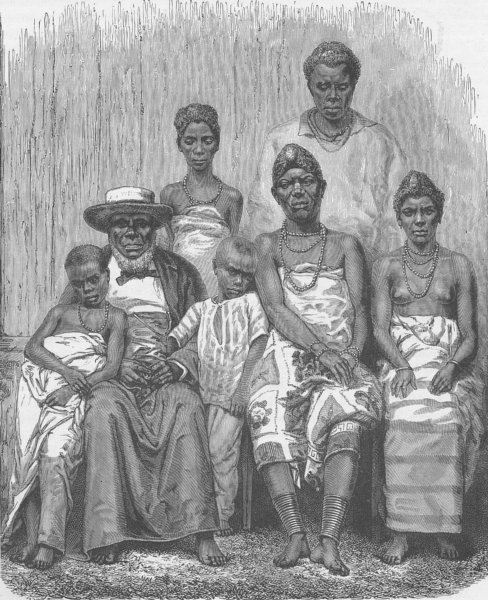 GABON. The Chief Kringer of the Gabon and his family 1891 old antique print