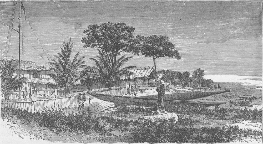 Associate Product GABON. English trading settlement, Gabon 1891 old antique print picture