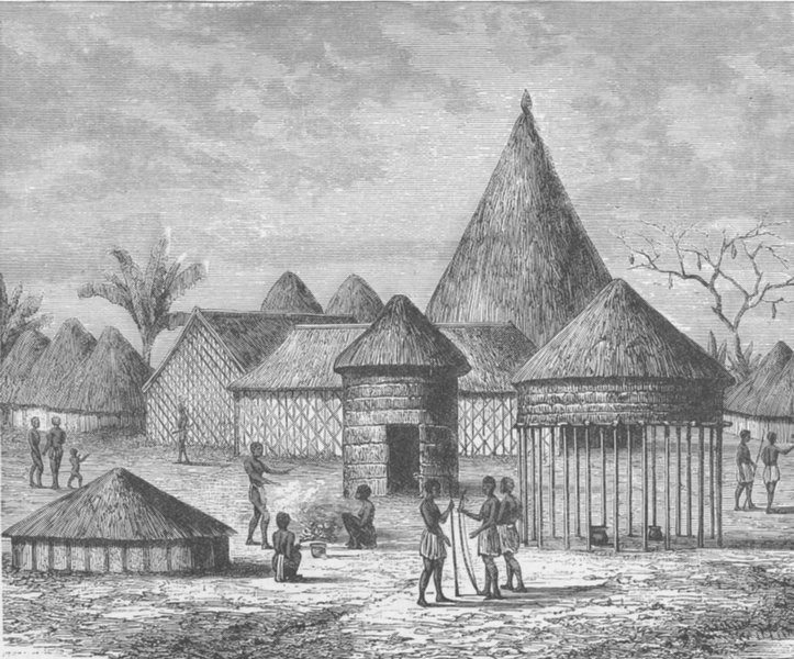 Associate Product SOUTHERN AFRICA. Village in Lovale, West Africa 1891 old antique print picture