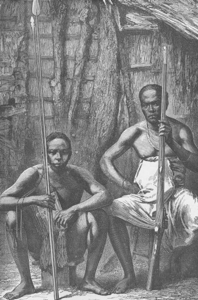 Associate Product GABON. Bakalais warriors 1891 old antique vintage print picture