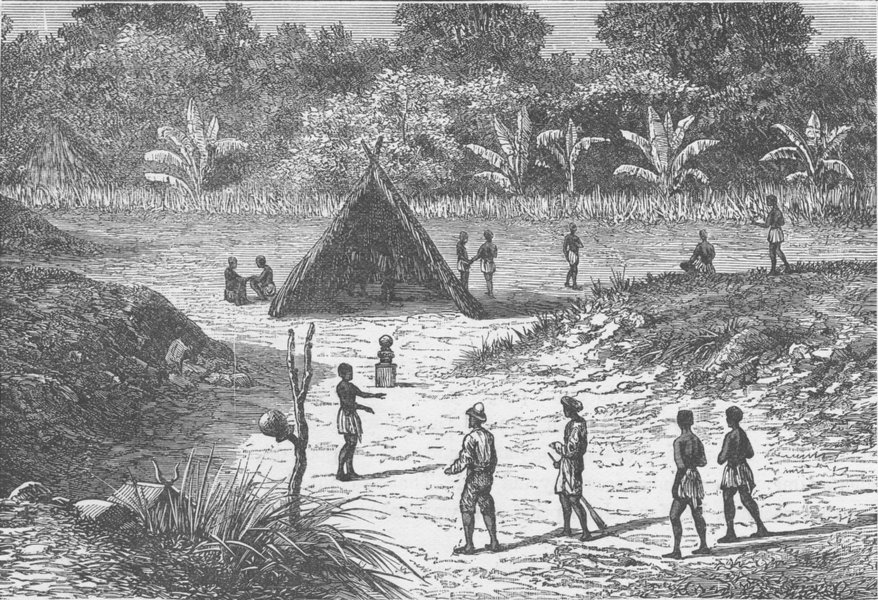 Associate Product GABON. Kawaia, an entrenched village in West Africa 1891 old antique print