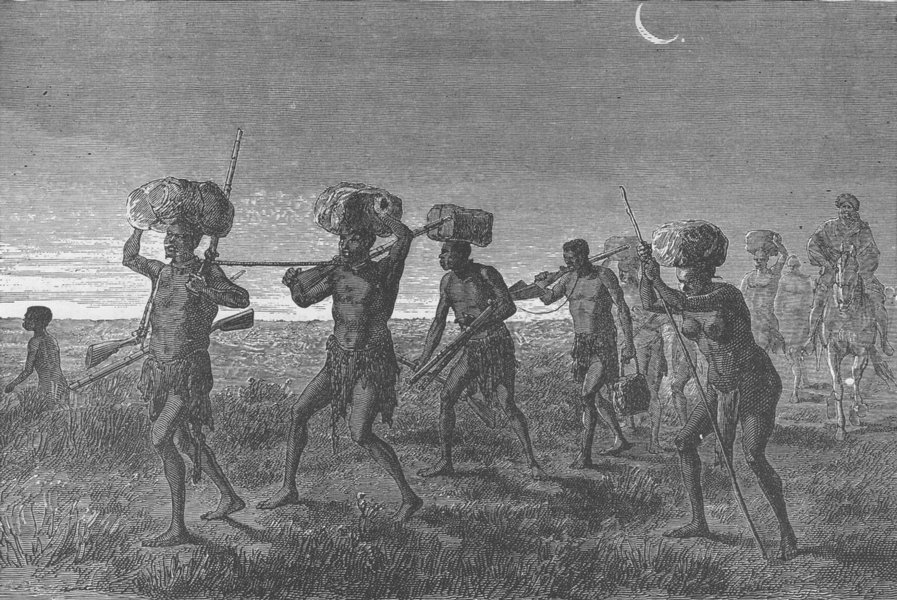 MALI. Gang of slaves in Kaarta 1891 old antique vintage print picture