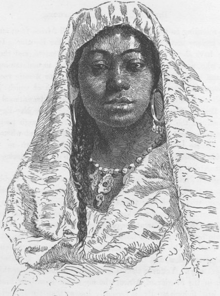 Associate Product MOROCCO. Female Negro slave of Fes, Morocco 1891 old antique print picture