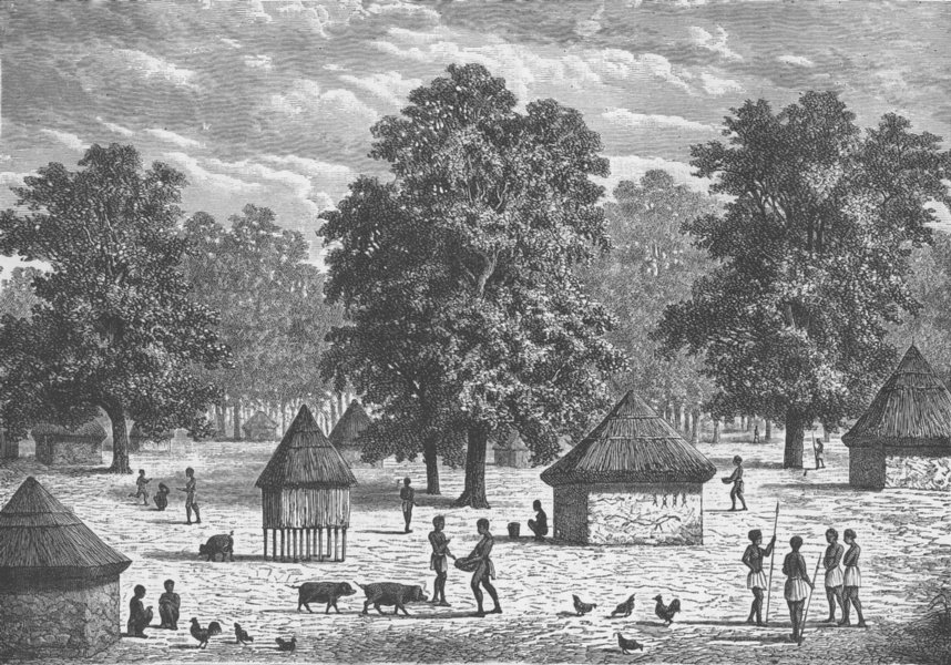 Associate Product ANGOLA. Village in Bihe, East of Angola 1891 old antique vintage print picture