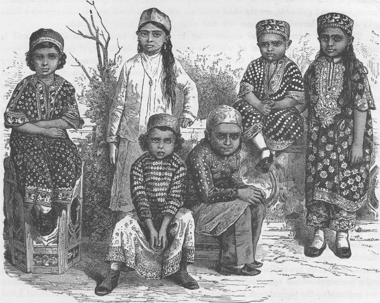 Associate Product IRAN. Group of Parsee children 1891 old antique vintage print picture