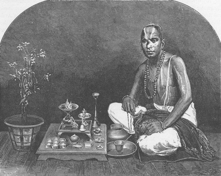 Associate Product INDIA. Brahmin priest 1891 old antique vintage print picture