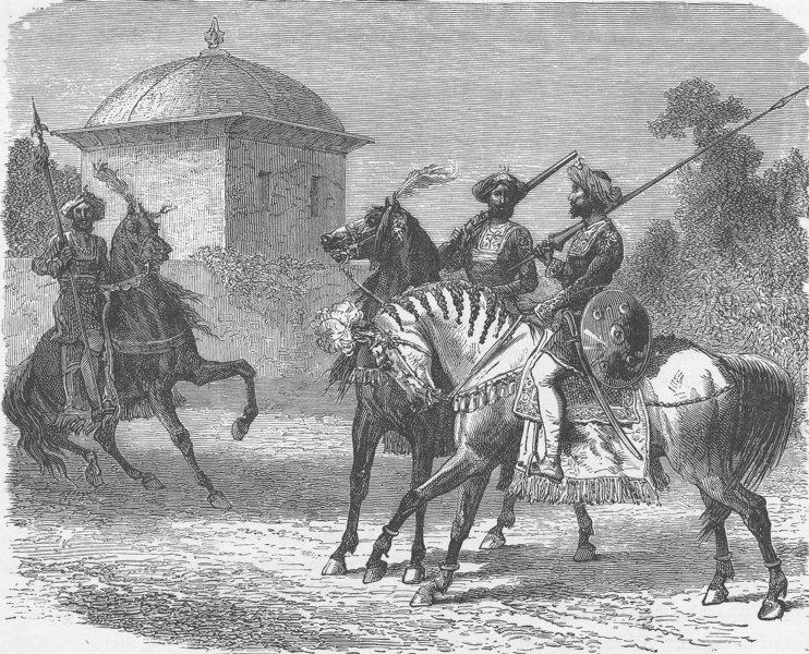 Associate Product INDIA. Horsemen of the Body-Guard of the Gaikwar of Vadodara 1892 old print
