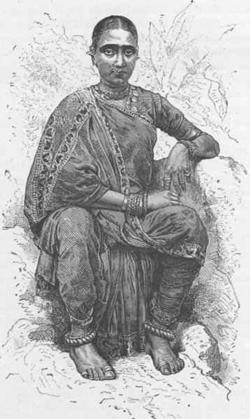 Associate Product INDIA. Young woman of Madras (Chennai)  1892 old antique vintage print picture
