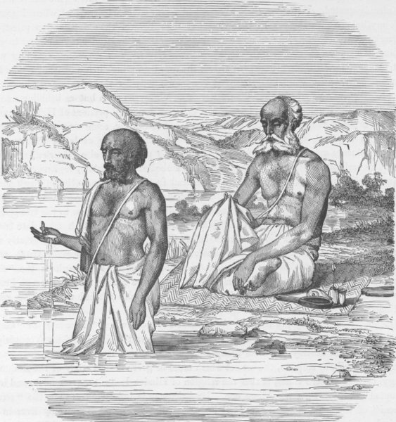 Associate Product INDIA. Brahmins worshipping the Ganges 1892 old antique vintage print picture