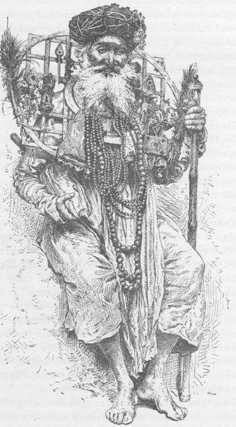Associate Product INDIA. Indian Fakir carrying a large circlet of iron around his neck 1892
