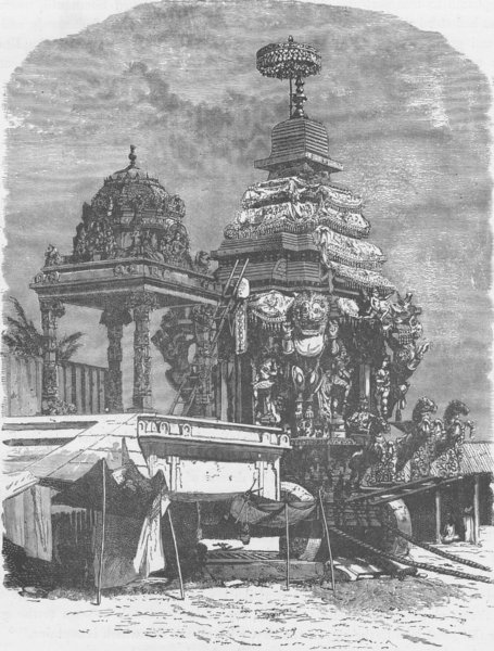 Associate Product INDIA. The car of Jagganath 1892 old antique vintage print picture