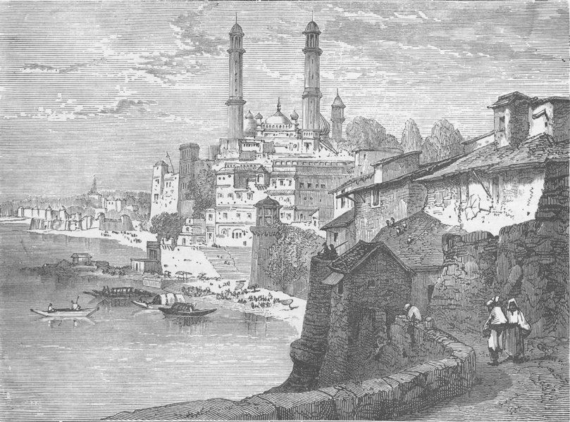 Associate Product INDIA. Varanasi, from the Ganges 1892 old antique vintage print picture