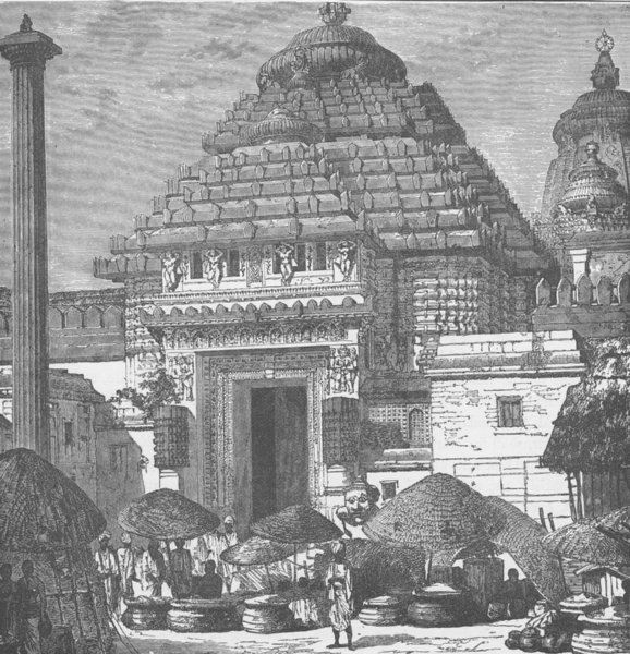 Associate Product INDIA. Entrance to the temple of Jagganath 1892 old antique print picture