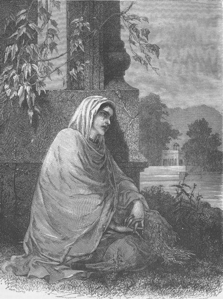 Associate Product INDIA. Cashmerian widow 1892 old antique vintage print picture