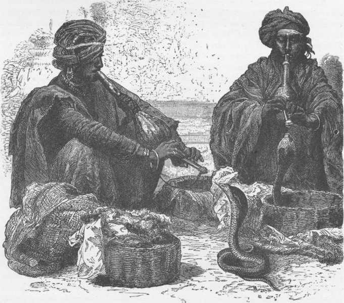Associate Product INDIA. Snake Charmers 1892 old antique vintage print picture