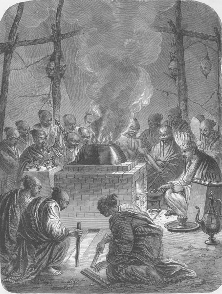 Associate Product TIBET. Burning the body of a Lama 1892 old antique vintage print picture