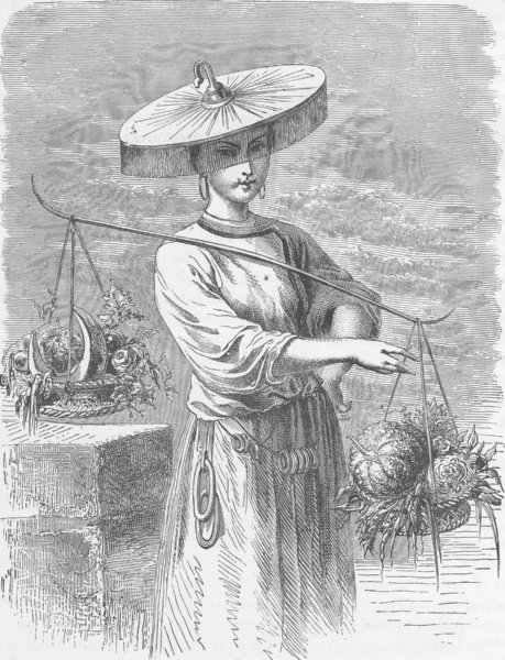 Associate Product CHINA. Chinese fruit seller 1892 old antique vintage print picture