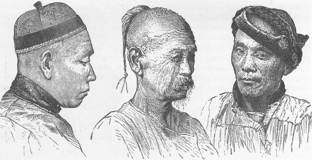 Associate Product CHINA. Chinese types of face (Shantou)  1892 old antique vintage print picture