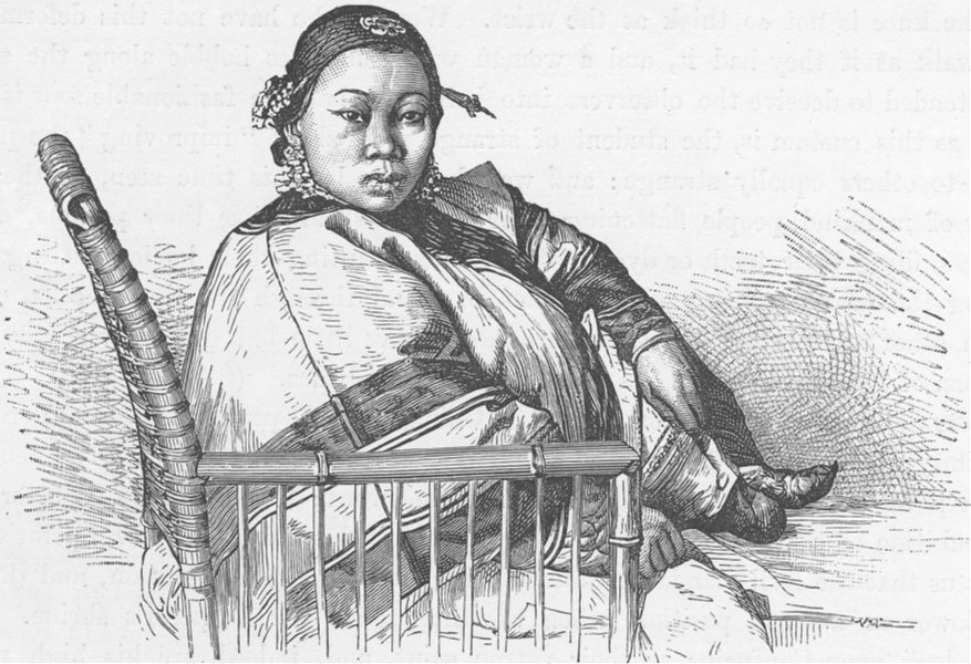Associate Product CHINA. Chinese lady's feet 1892 old antique vintage print picture