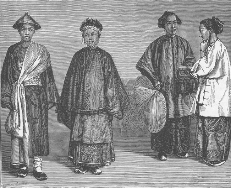 Associate Product CHINA. Chinese bride and bridegroom 1892 old antique vintage print picture