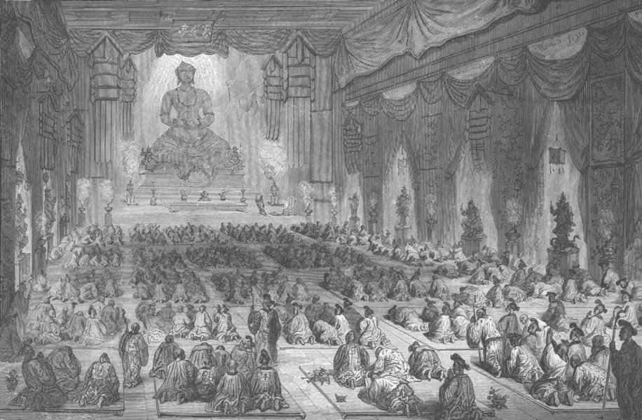 Associate Product CHINA. Religious Ceremony in a Chinese Lamasery (Buddhist Temple)  1892 print