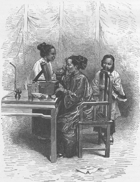 Associate Product CHINA. Chinese lady at her toilet 1892 old antique vintage print picture