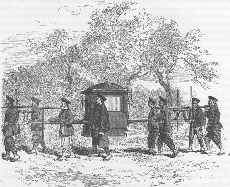 Associate Product CHINA. Palanquin of a Chinese dignitary 1892 old antique vintage print picture