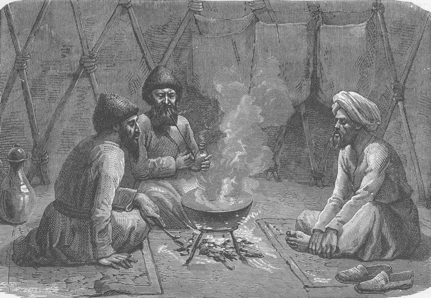 Associate Product TURKMENISTAN. Interior of a Turkoman tent 1892 old antique print picture