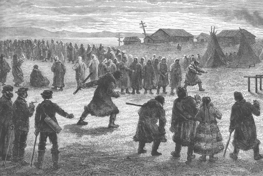 Associate Product RUSSIA. Samoyedes of Khabarova (Yugar strait) playing at games 1892 old print