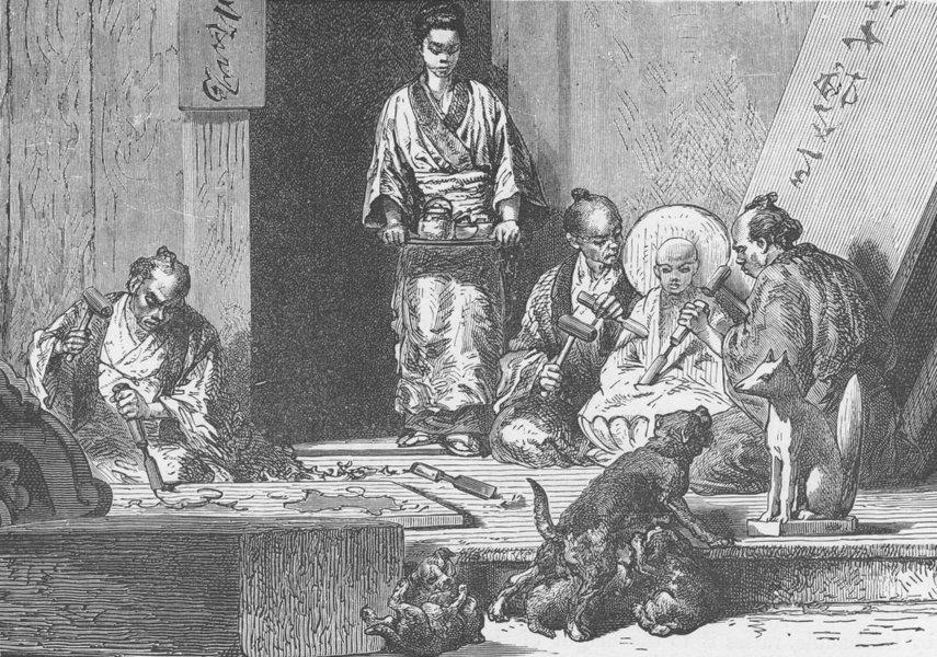 Associate Product JAPAN. Studio of a Japanese wood-carver 1892 old antique vintage print picture